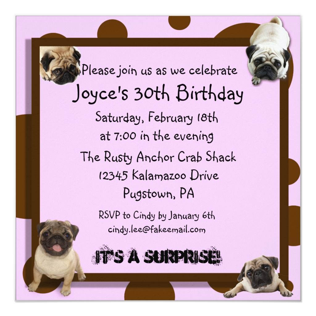 Pink And Brown Pug Invitations In 2020 Invitations Pugs Pink