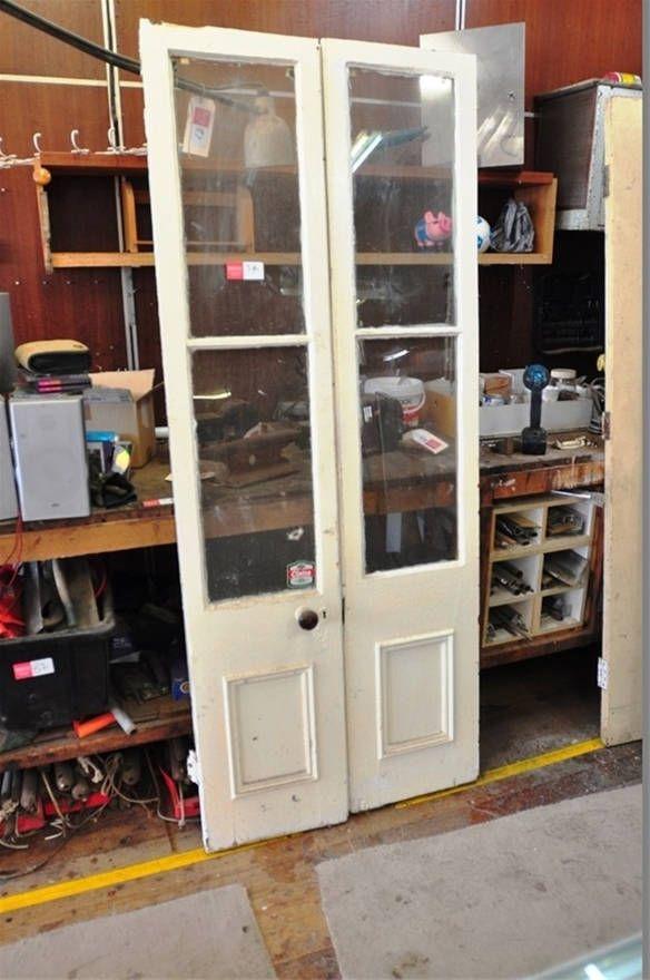 Set Of 2 X Victorian Era French Doors With Original Door Handle. Two Glass