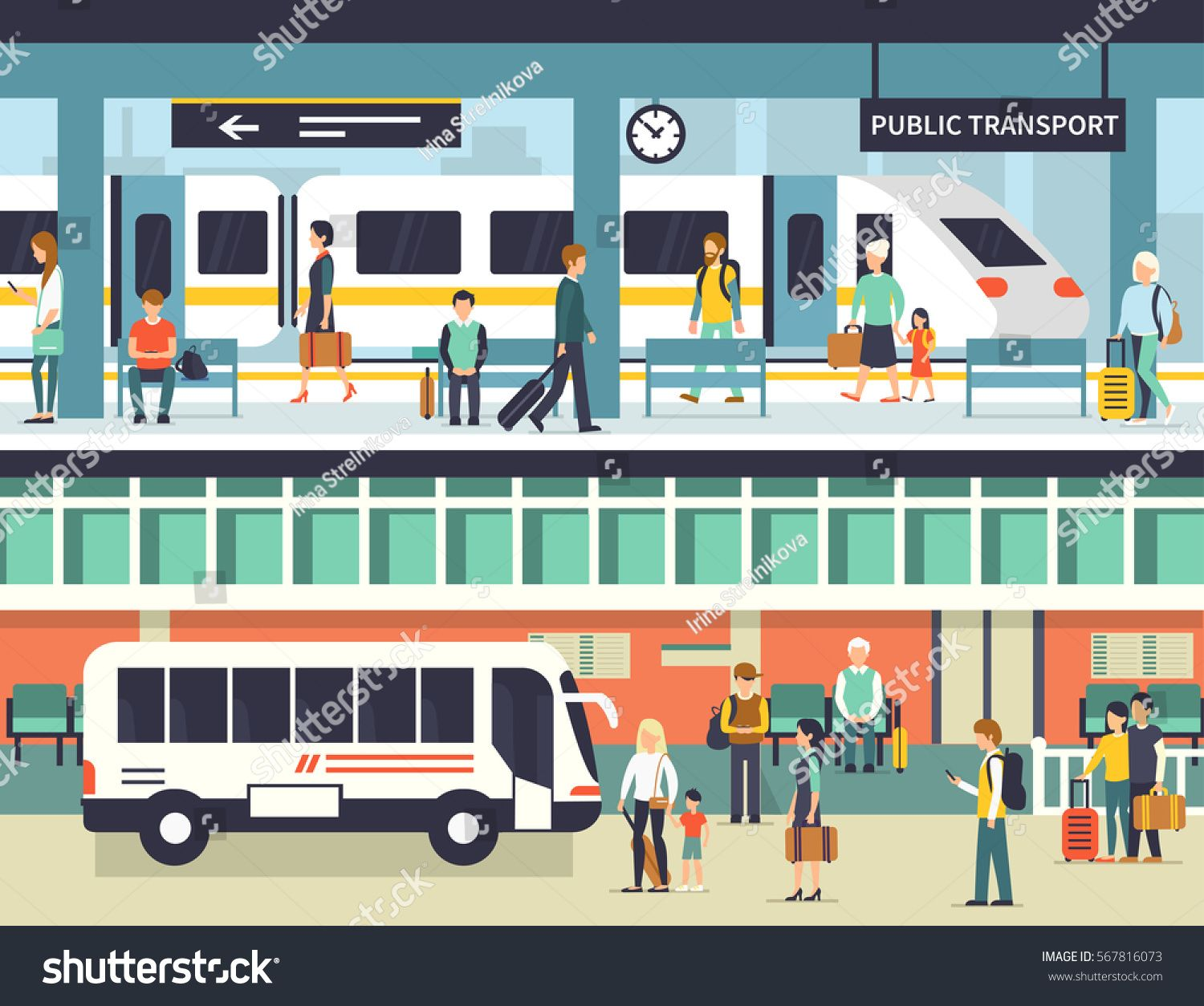 People On Railway And Bus Station Passengers At Bus Stop And Train Platform Vector Concept Illustration Infographic Elements Bus Station Bus Illustration