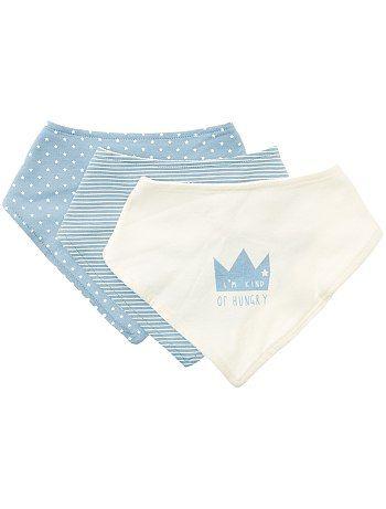 c1a4436c6dd Juego de 3 baberos bandana azul Bebé niño - Kiabi