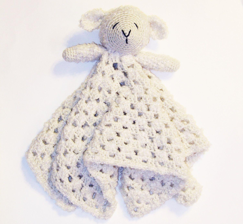 Lamb Lovey CROCHET PATTERN instant download - blankey, blankie ...