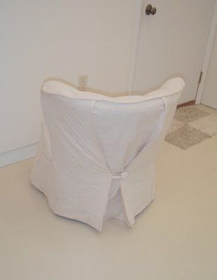 The Back Of A Cute Slipcover This Works Great For A Barrel Shaped Chair Slipcovers For Chairs Upholstery Trends Slipcovers