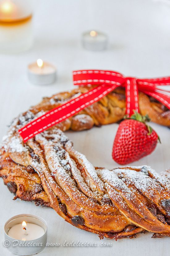 Strawberry and Chocolate Chip Pastry Christmas Wreath