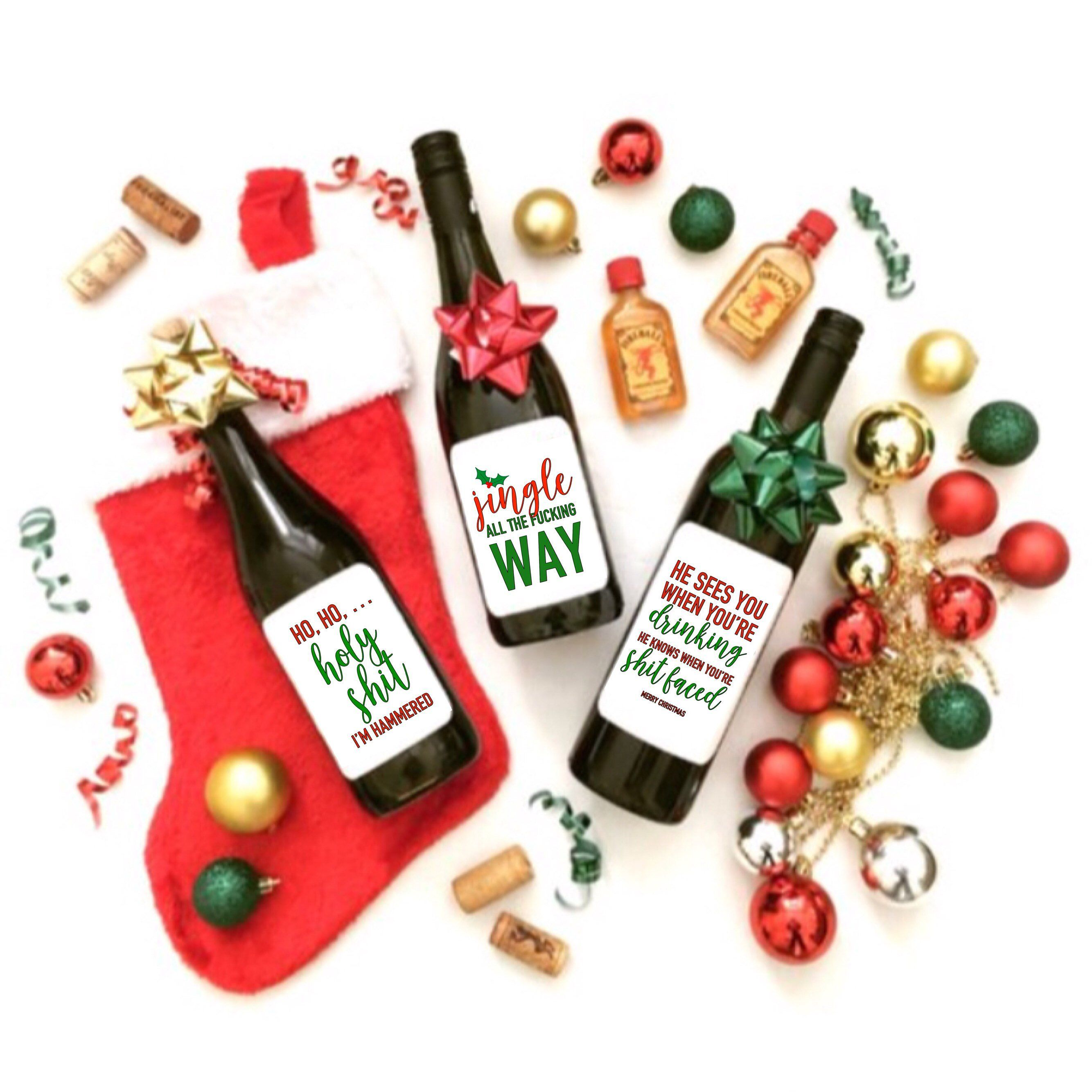 Excited To Share This Item From My Etsy Shop Ho Ho Holy Sh T I M Hammered Holiday 3pack Wine Bottle Crafts Christmas Wine Label Craft Label