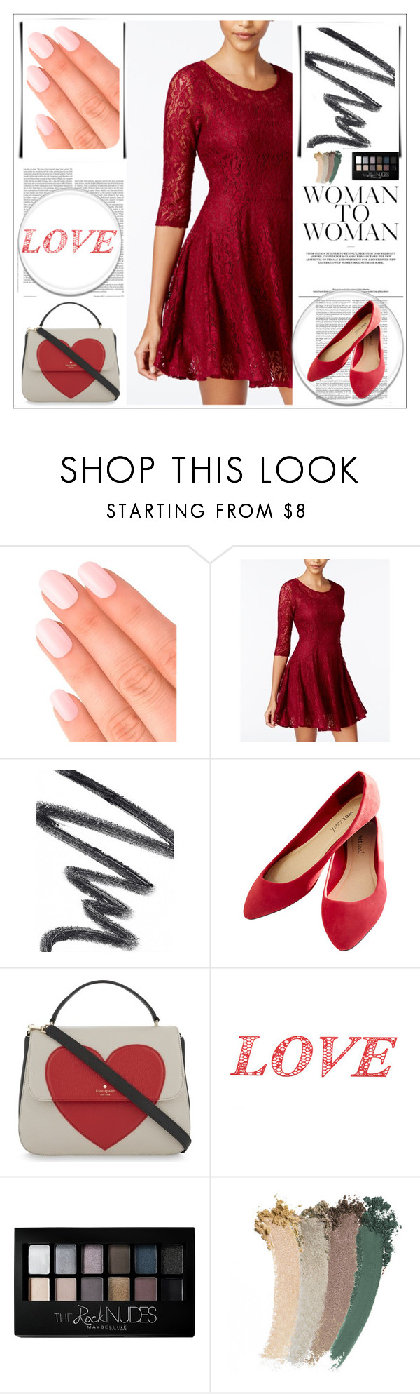 """""""Happy Valentine's Day!"""" by violinistkitty ❤ liked on Polyvore featuring Elegant Touch, Fishbowl, Chantecaille, Wet Seal, Kate Spade, WALL, Maybelline, Gucci and BeMyValentine"""