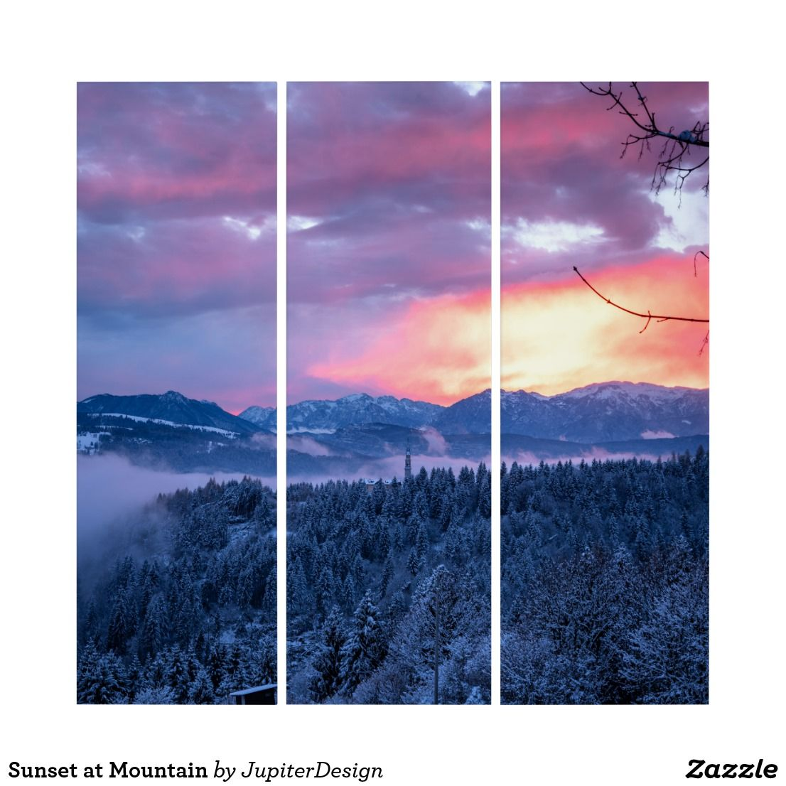 Mountain Sunset Wall Art Zazzle Com Sunset Wall Art Triptych Wall Art Art