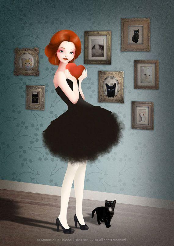 Znalezione obrazy dla zapytania gato y mujer arte