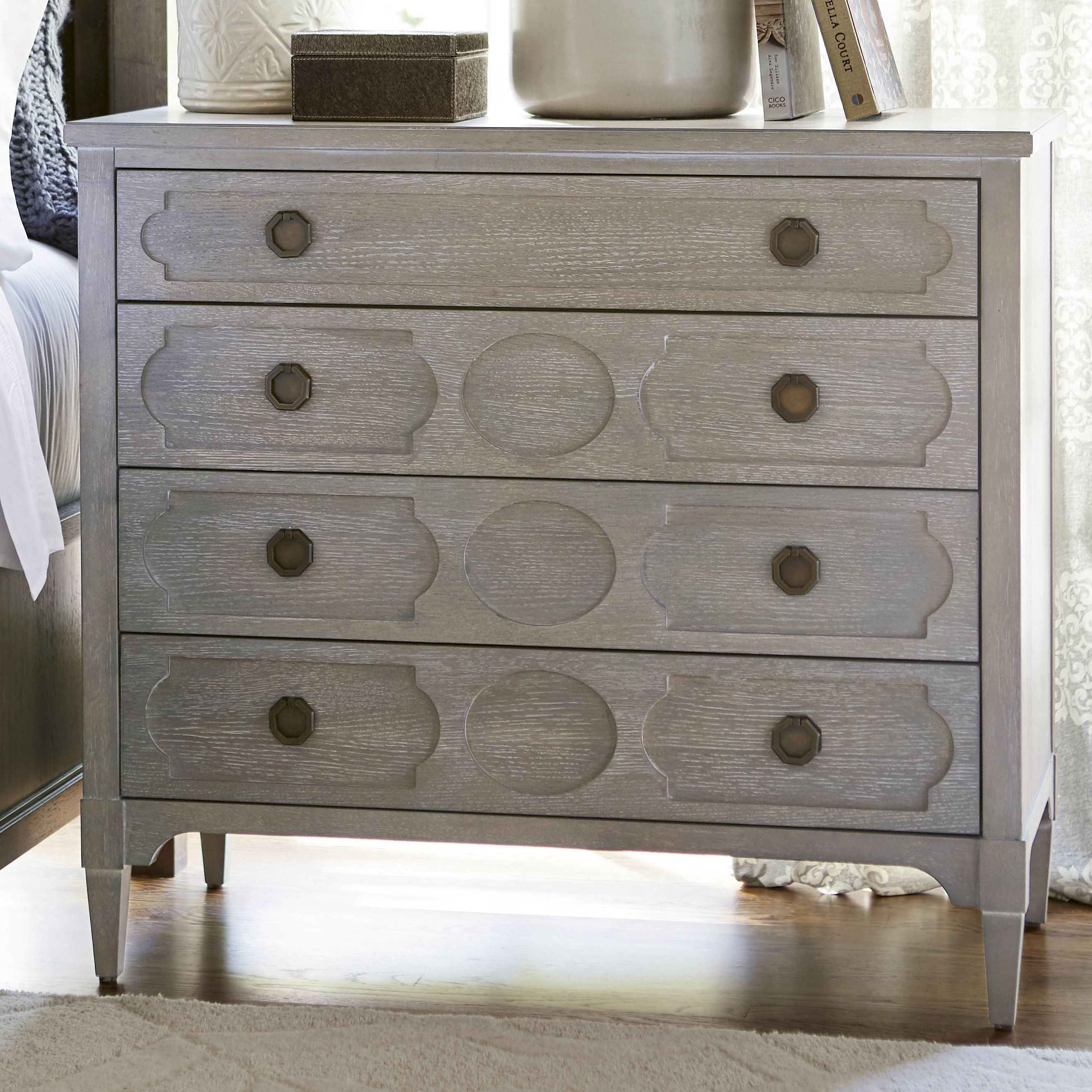 Features 4 Drawers. Smoke on the water accent finish