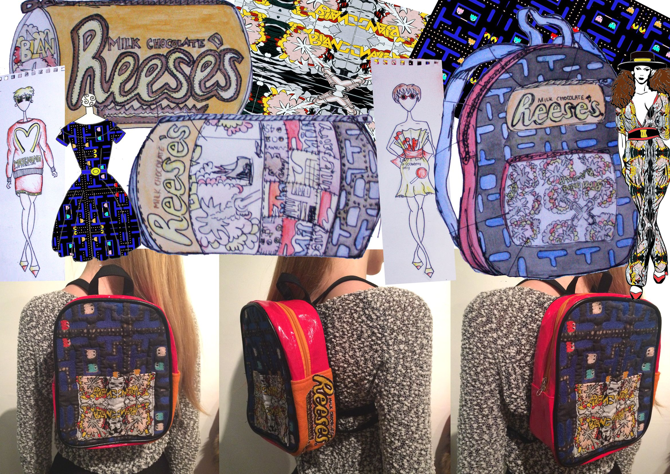For my final piece in this project I chose to make a backpack. I thought this represented the whole of my theme well and I created a design which involved a range of ideas from my sketch book. I tried out a lot of different designs before I finished on my final one and even then when creating the bag I adjusted it slightly.