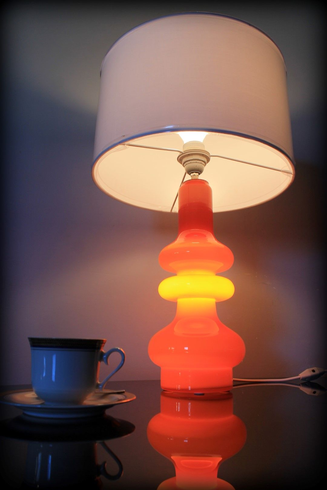 Vintage Oranje Design Tafellamp Holmegaard