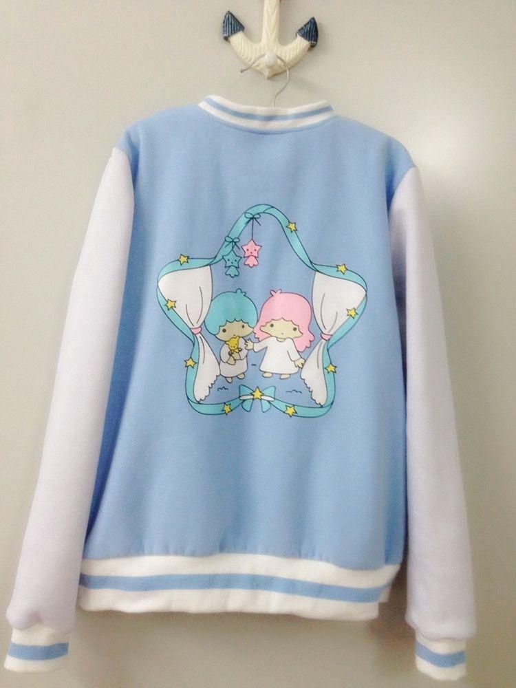 Kawaii Little Twin Stars Ice Cream Color Baseball Jacket SP130175 - Thumbnail 2