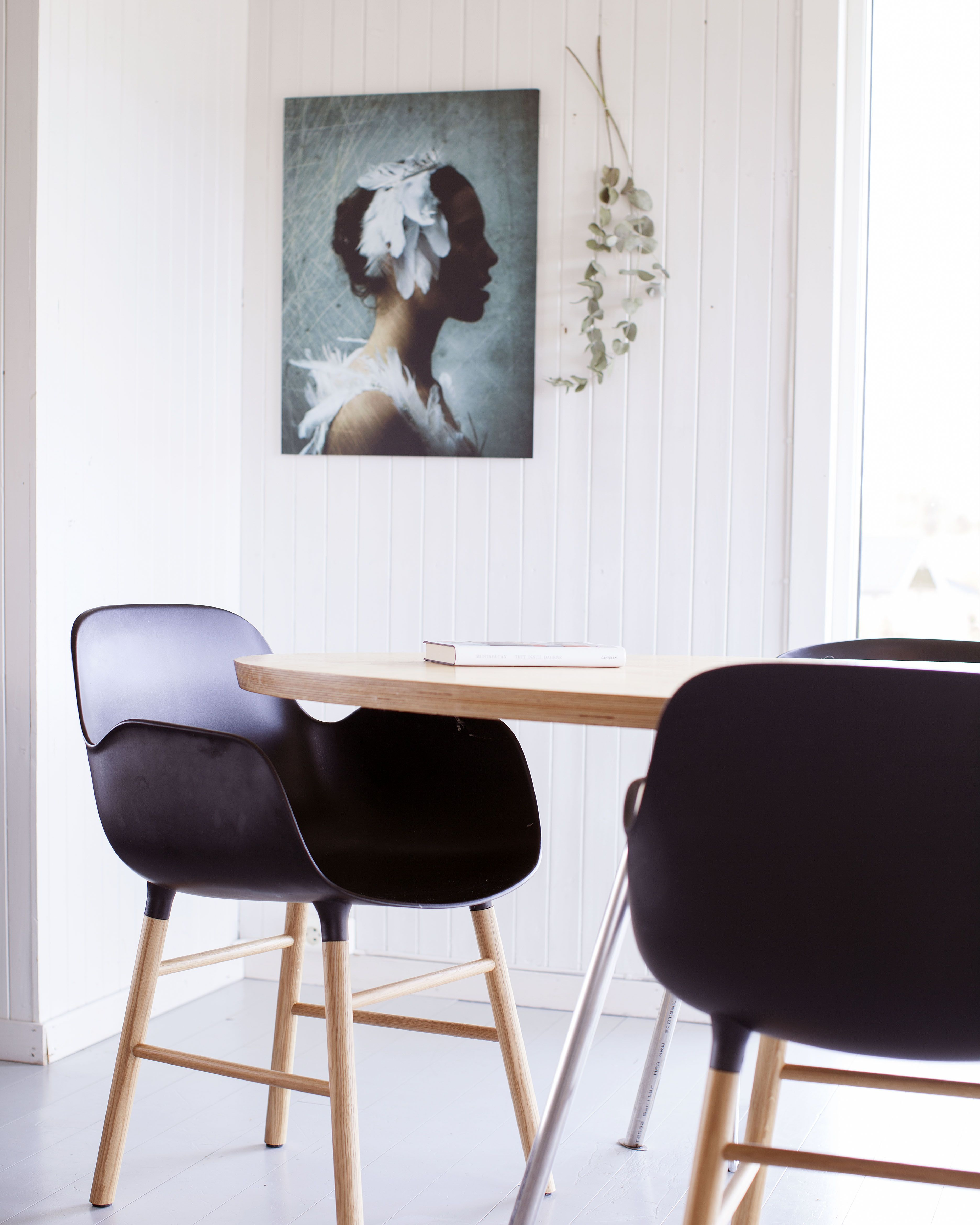 Our Dining Room With Norman Copenhagen Chairs, Homemade Table And Image  Troopers Art Work On Aluminum.