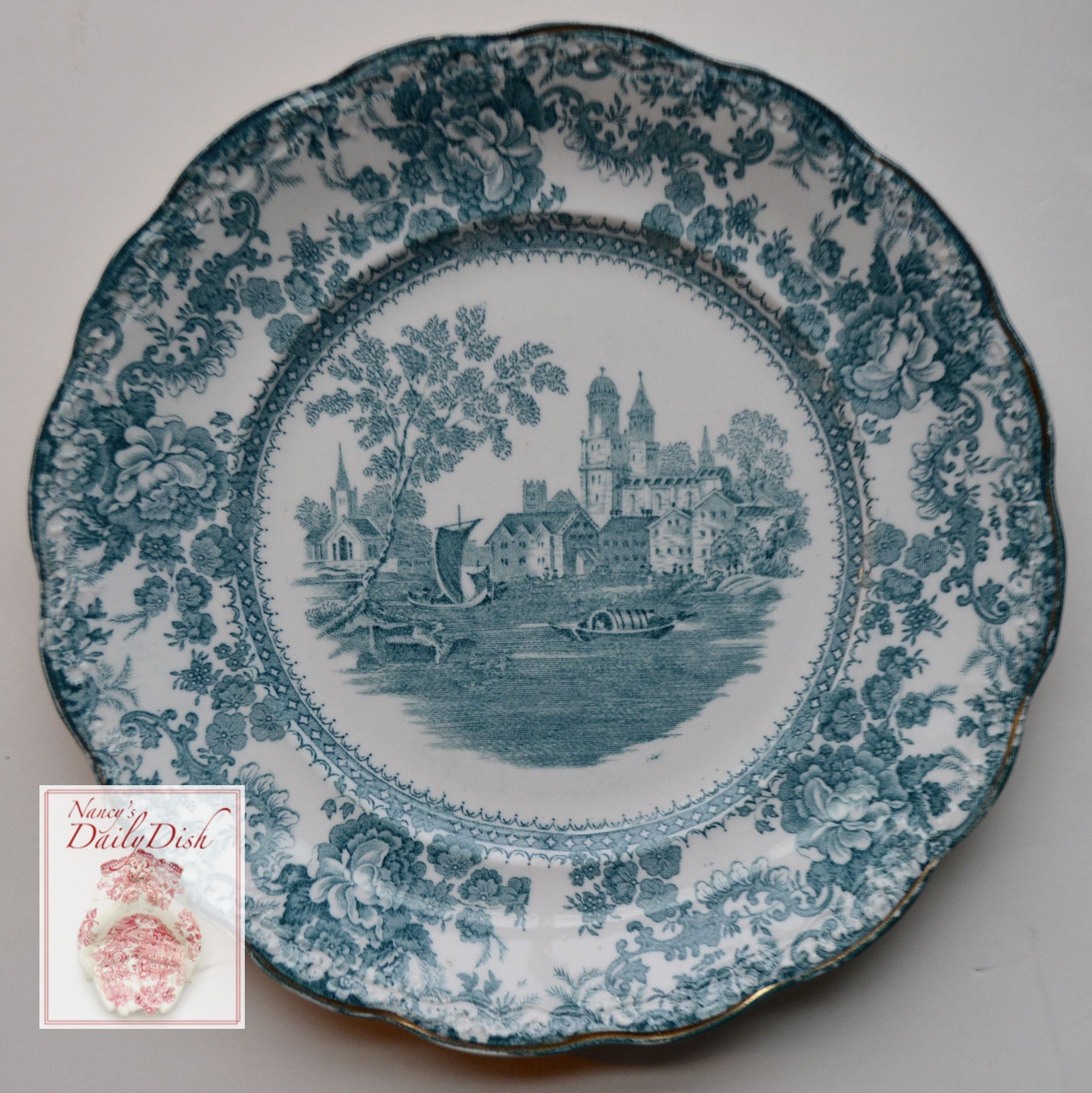 Antique Staffordshire China Teal English Transferware Dinner Plate Circa 1891 Roses Boats Church Togo Transferware Transferware Plate White Pottery