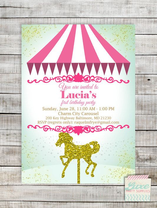 Carousel Birthday Party Printable Invitation Gold Carousel