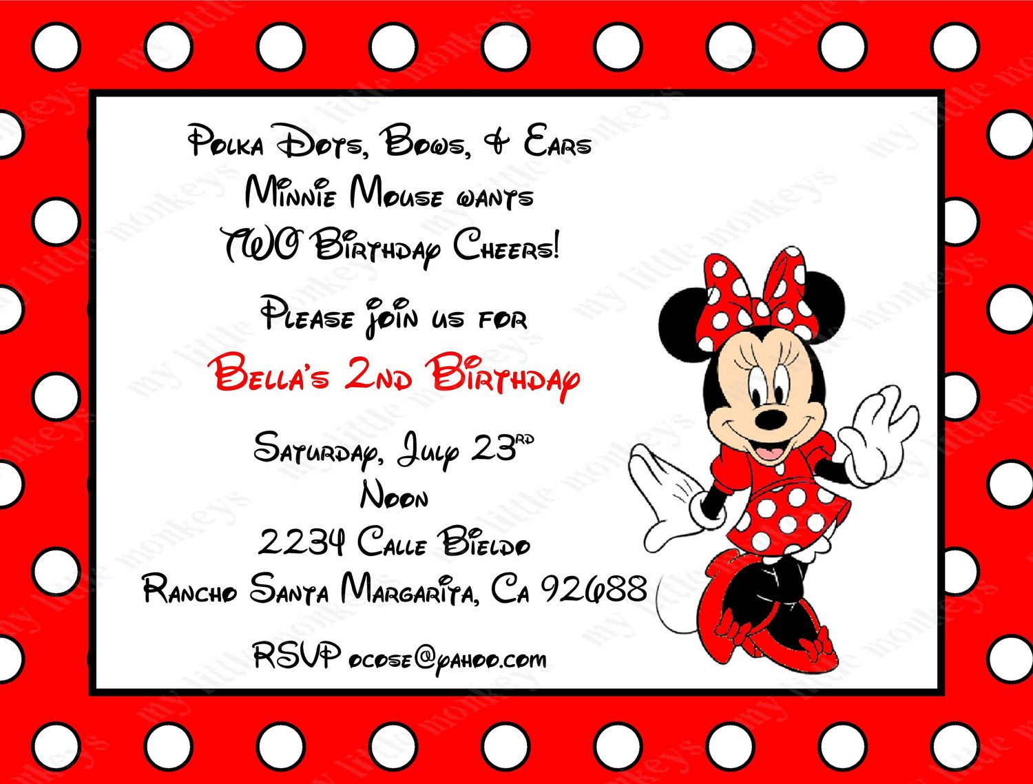 10 Red Minnie Mouse Invitations with Envelopes. by BethCloud723 ...