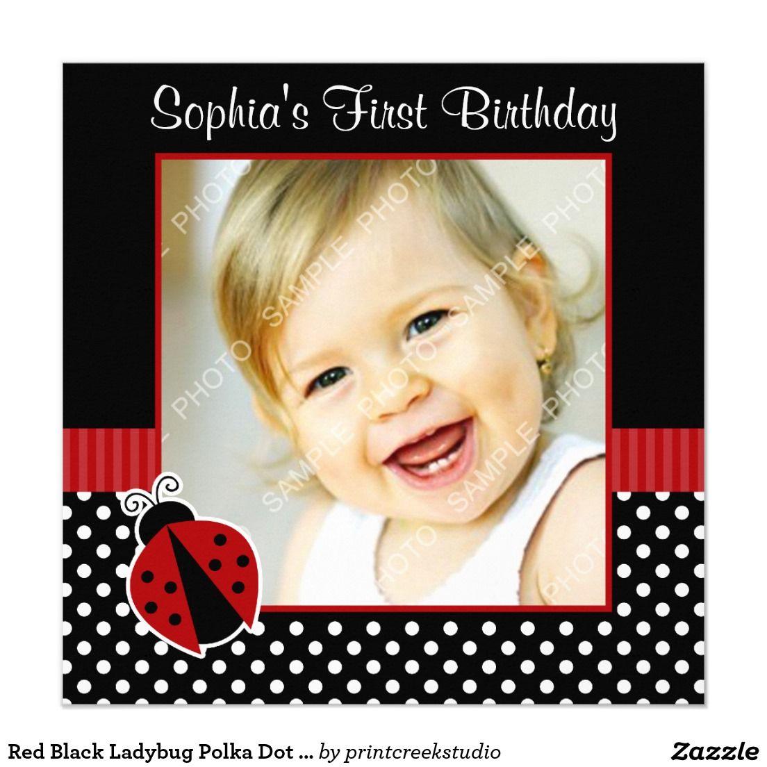 Red Black Ladybug Polka Dot 1st Birthday Photo Card Elena S First