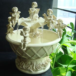 Indoor Tabletop Water Fountains with Cupid Angel Figurines ...