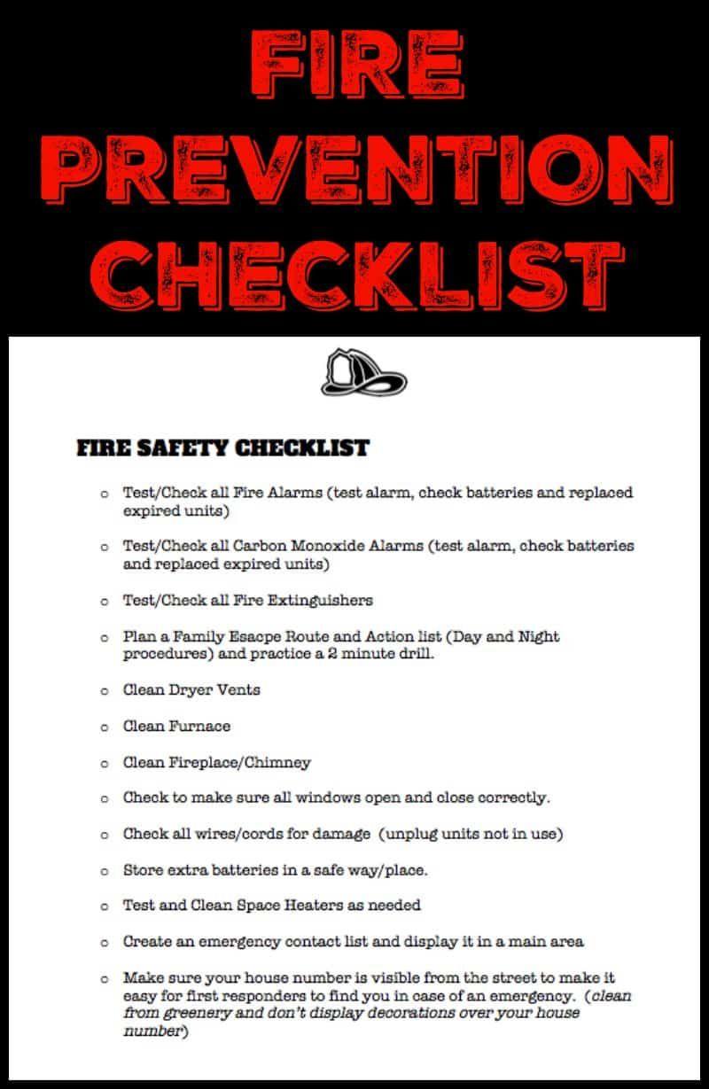 Fire Prevention Month Safety Checklist Essay