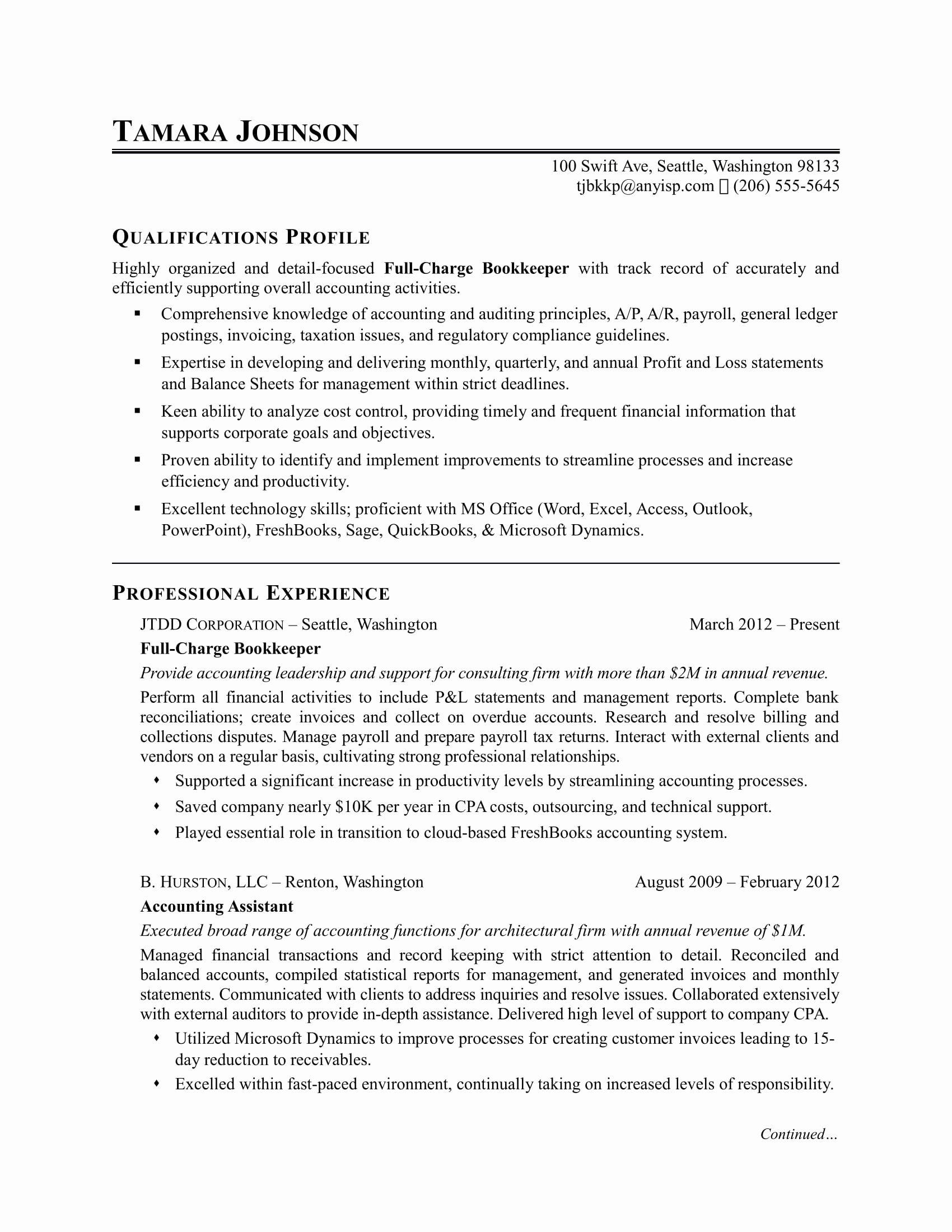 General Ledger Accountant Resume Lovely Bookkeeper Resume Sample In 2020 Accountant Resume Bookkeeping Resume Writing Services