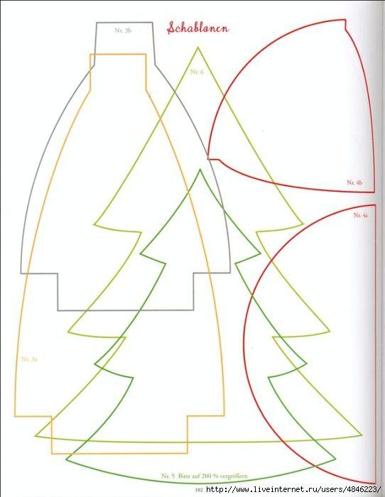 arboles-tela-plantilla   Fieltro   Pinterest   Tela, Navidad y Molde