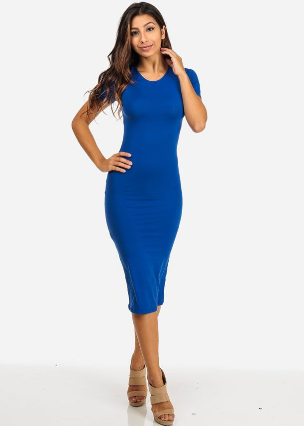 5dd6672466 Short Sleeve Bodycon Midi Dress | Day/Night Out(fits) | Dresses ...