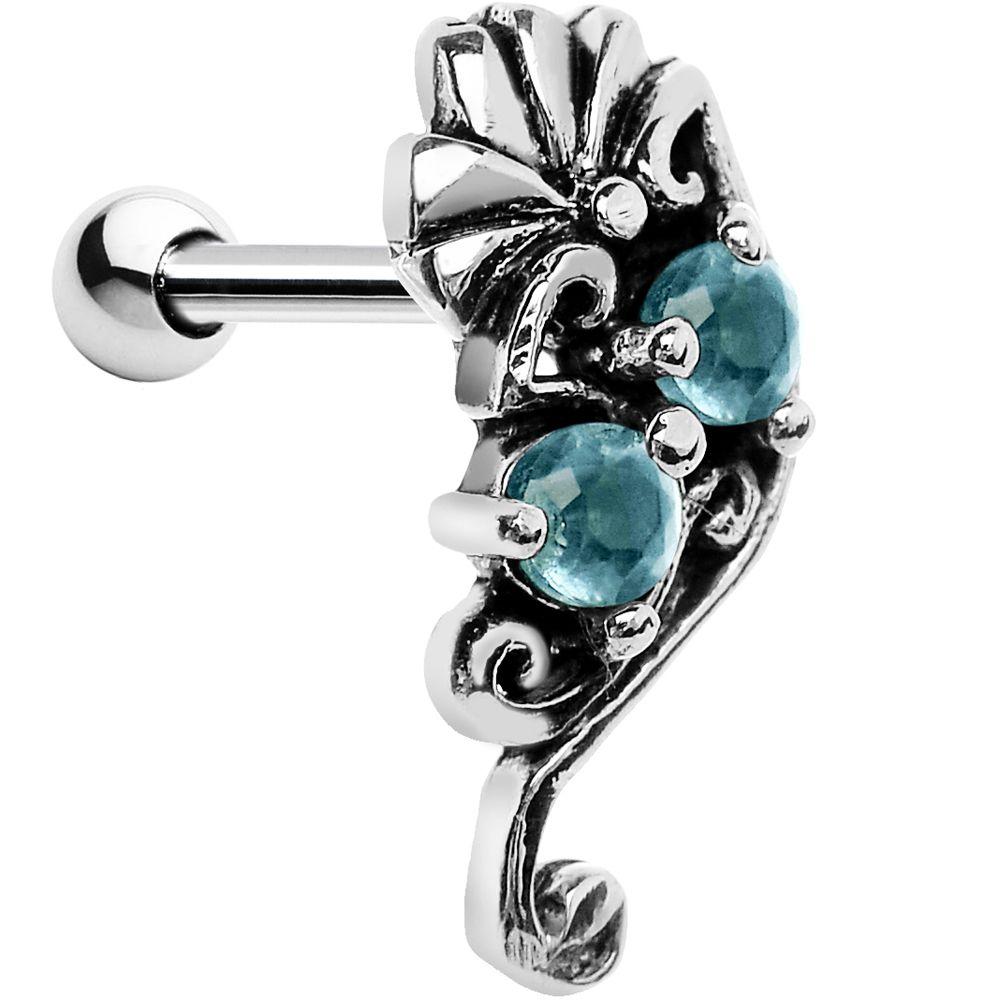 Silver 925 Aqua Gem Fan Left Cartilage Earring