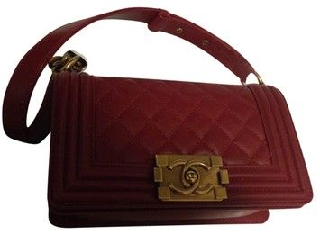 b79c66abe852 Chanel Classic Smallle Boy Flap Lambskin Bronze Hw Red Dark Red Cross Body  Bag