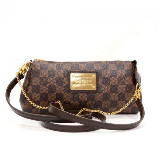 Louis Vuitton Eva Ebene Damier Canvas Pochette Bag + Strap