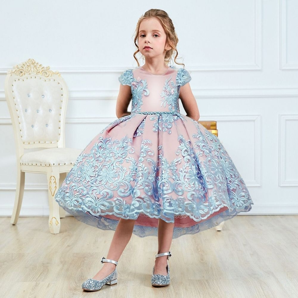 Girls Princess Kids Dresses for Girls Tutu Lace Flower Embroidered Ball Gown Baby Girls Clothes Children Wedding Party Dress #babygirlpartydresses