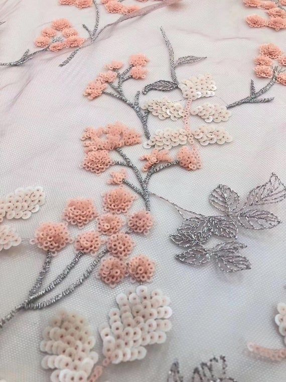 women fashion fabric of new arrivals Hot selling flower sequins lace fabric fashion dress lace fabric