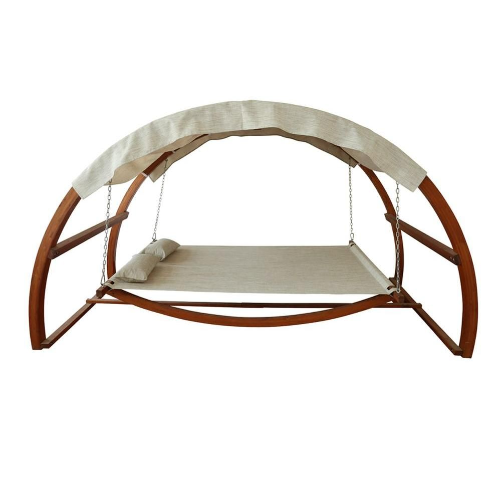 Leisure season patio swing bed with canopy patio swing canopy and