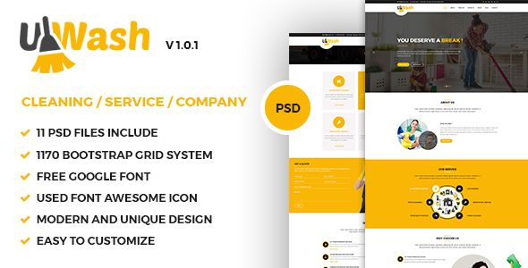 Uwash - Cleaning Service Company PSD Template Cleaning services - spreadsheet for cleaning business
