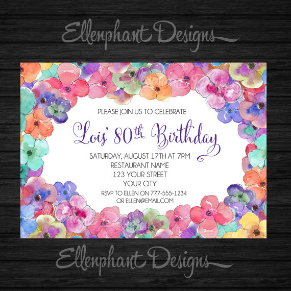 Colorful Floral 50th Birthday Invitation, also suit 30th, 40th, 60th ...