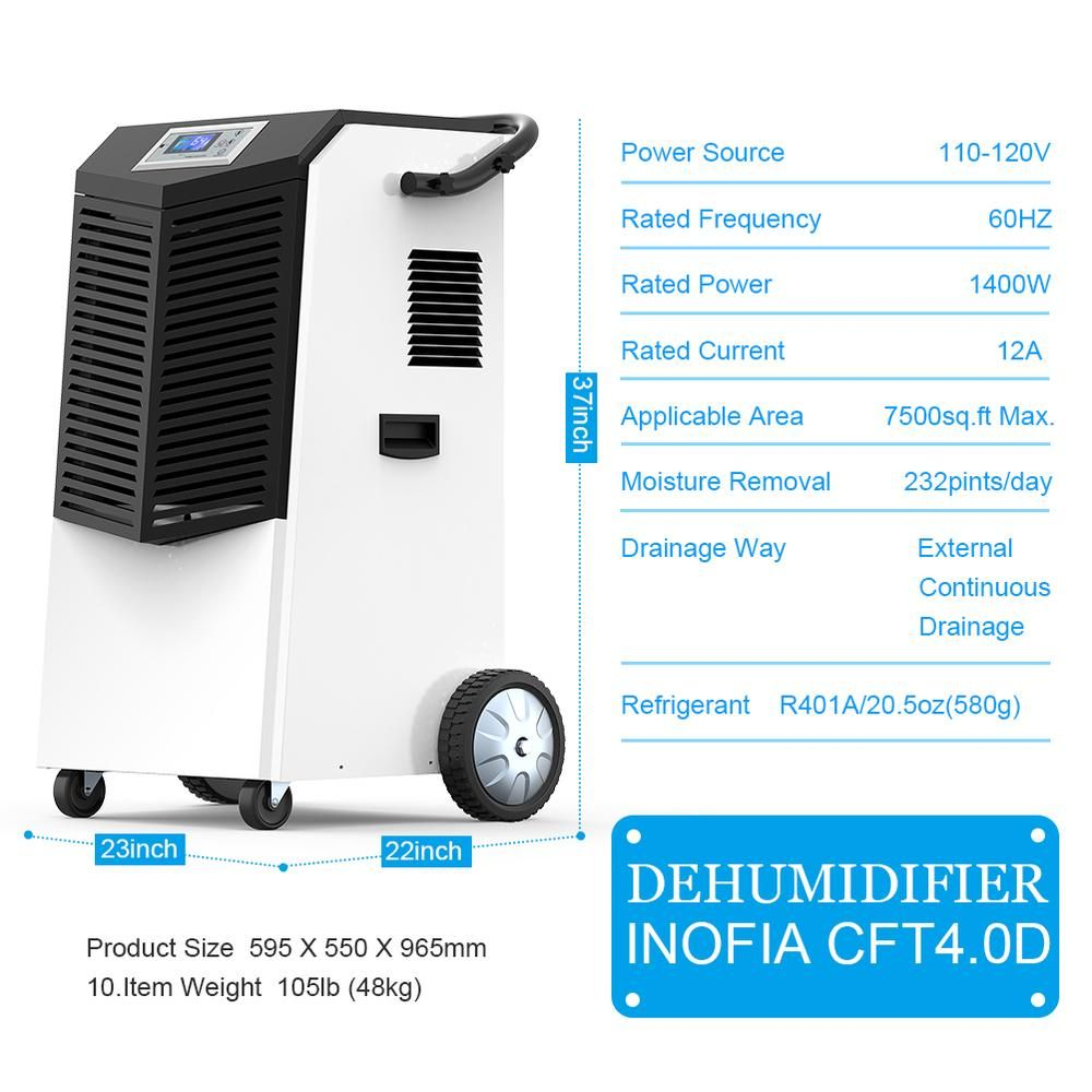 Up To 232 Pints Commercial Dehumidifier For Basement Industry Dehumidifiers Energy Saving Technology Dehumidifier Basement