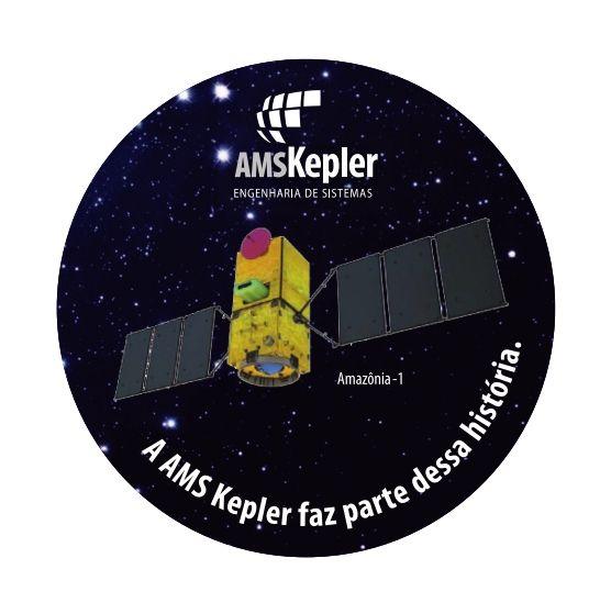 Adesivo satélite Amazônia-1 que será lançado em futuro próximo.