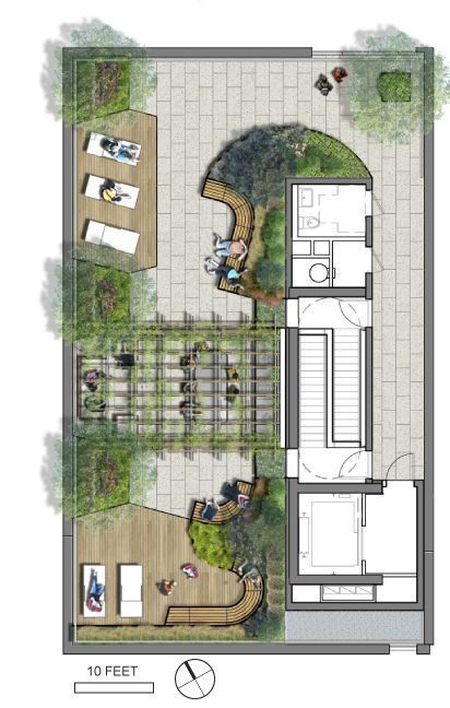 Rooftop Amenity Area #greenroofs #LandscapeMasterplan The View From The Covered Terrace Of The N… In 2020 | Roof Garden Plan, Garden Design Plans, Landscape Design Plans