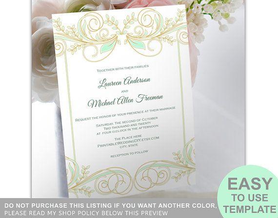 Diy Wedding Invitation Template Printable Invite Instant