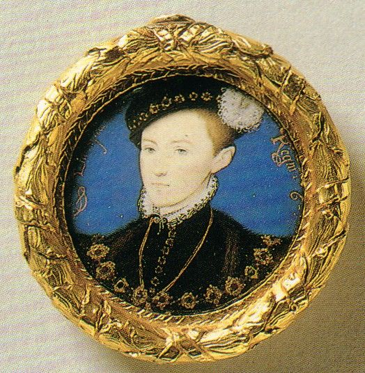 A posthumous miniature portrait of Edward VI, by Hilliard, circa 1600. Originally part of the Bosworth Jewel Hoard. The Royal Collection.