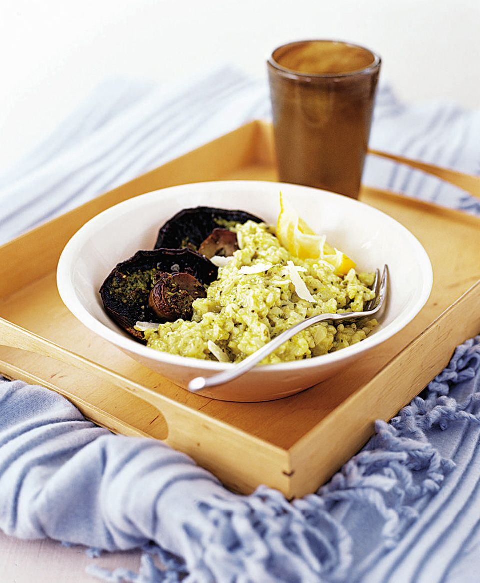 Hey pesto! Serve magical mushrooms with this light risotto recipe.