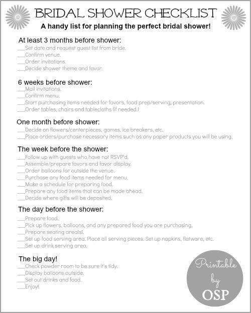 Bridal Shower Checklist Bridesmaid Checklistbridesmaid Dutiesbridesmaidsbaby