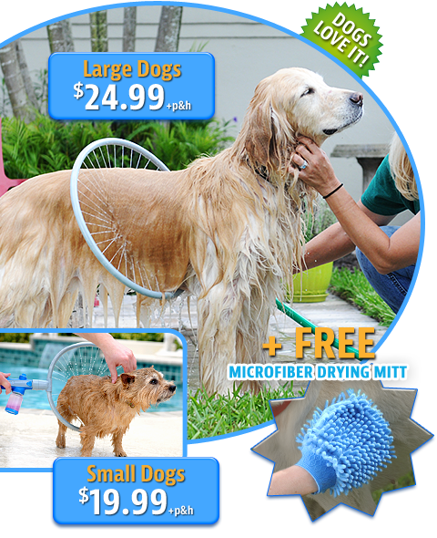 Woof Washer 360  Attach to hose (preferably one capable of warm