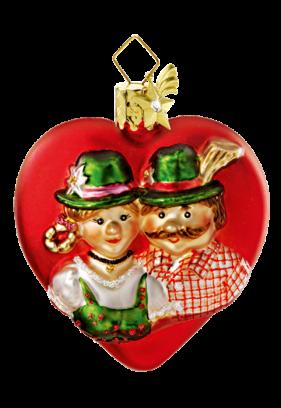 Herz (rot) mit bayrischem Pärchen