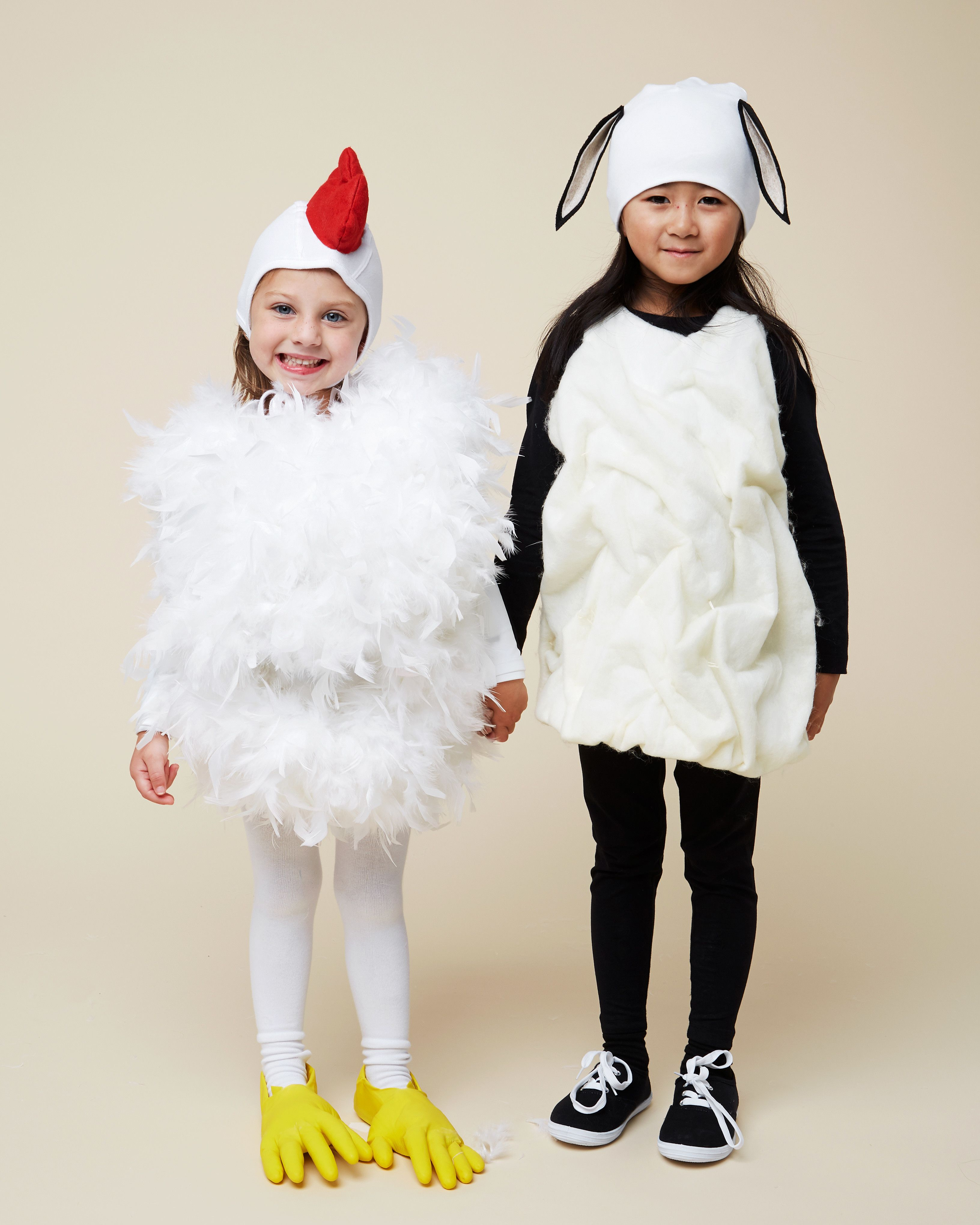 2 Farm Animal Costumes That Pair Perfectly For Best Friends Chicken Costume Kids Chicken Costumes Farmer Halloween Costume