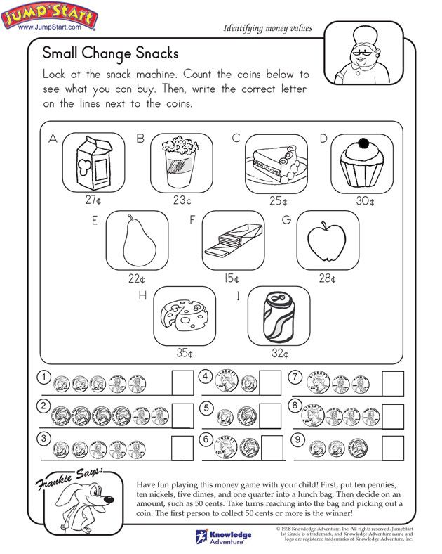 Math Worksheets counting on math worksheets : Count the coins; identify which snack you can buy. | Number ...