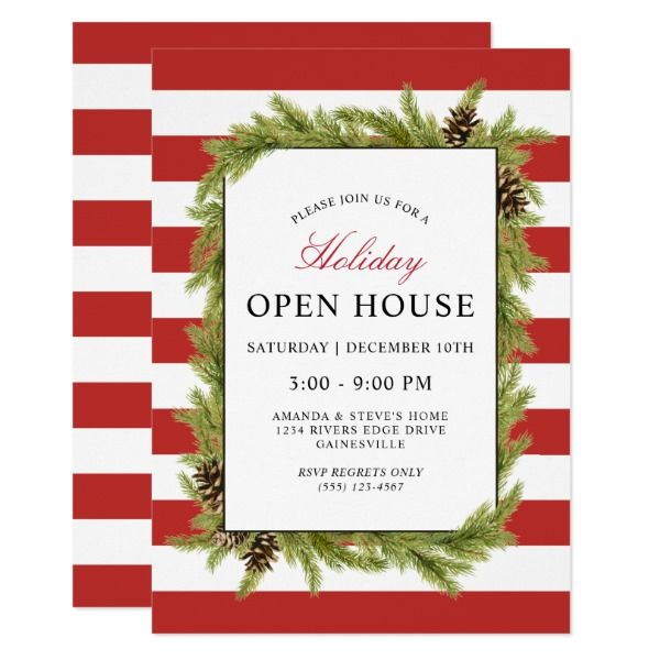 Evergreens and Stripes Holiday Open House Invitation Christmas