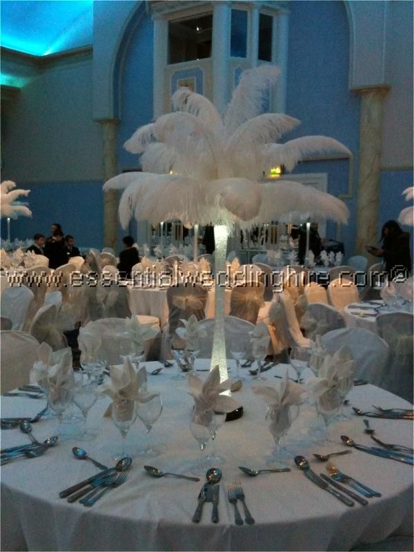 All white ostrich feather centrepiece