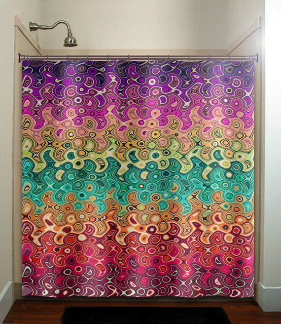 Abstract Multi Color Rainbow Wave Colorful Shower Curtain Extra Long Fabric Window Panel Kids Bath