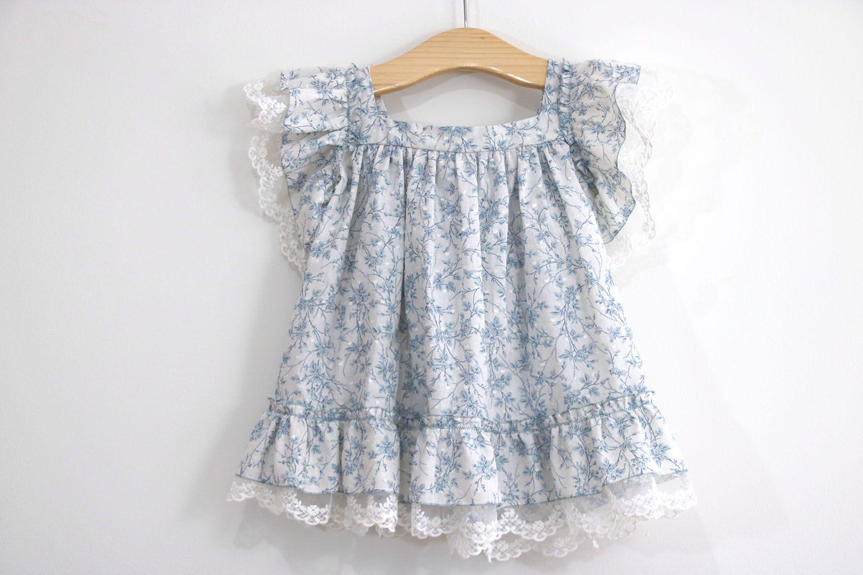 Costura: Vestido para niñas con volantes y encaje (Patrones gratis ...