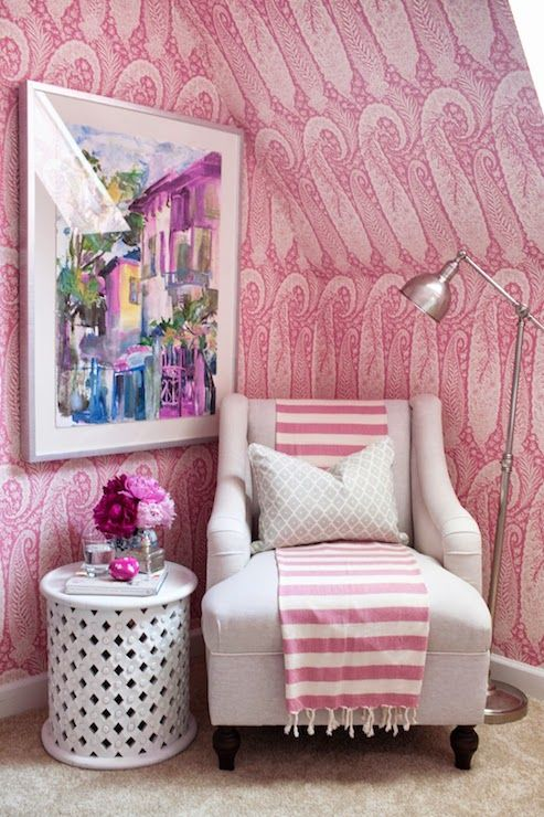Pink attic bedroom boasts walls and vaulted ceiling clad in Antonina ...