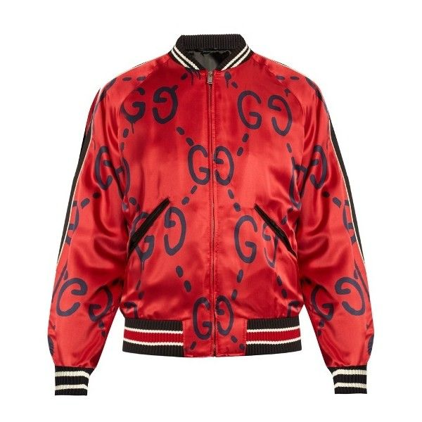 9e10bbbe9 Gucci GucciGhost-print satin bomber jacket ($1,488) ❤ liked on Polyvore  featuring men's fashion, men's clothing, men's outerwear, men's jackets,  men, ...